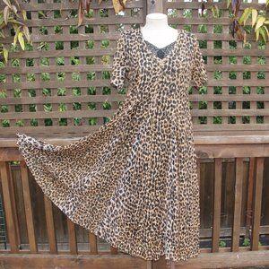 Vintage 90's NOSTALGIA Leopard Lace Maxi Dress S